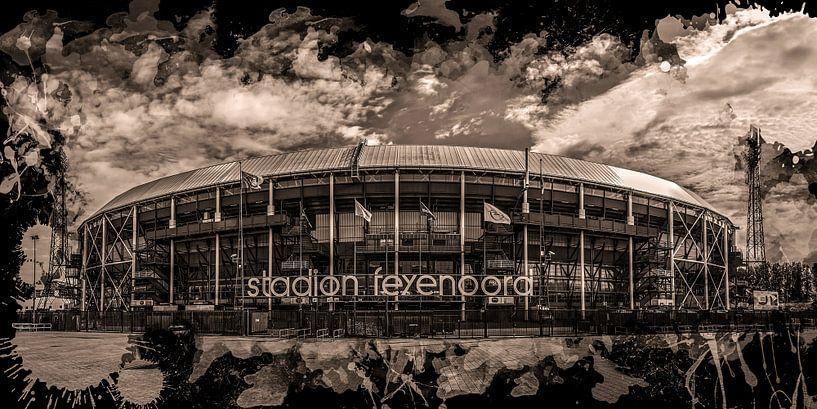 "Feyenoord ART Rotterdam Stadion ""De Kuip"" Sepia van MS Fotografie | Marc van der Stelt"