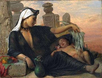vrouw, Egyptische Fellah, met haar baby - Elisabeth Jerichau-Baumann -1872 van Atelier Liesjes