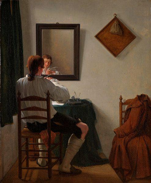 Ein Schriftsteller schneidet seine Feder, Jan Ekels (II) von Meesterlijcke Meesters