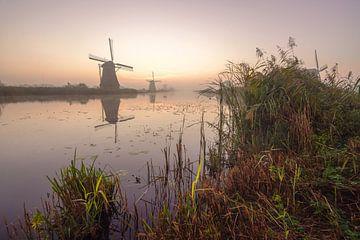 Zonsopgang bij Kinderdijk van Dirk van Egmond