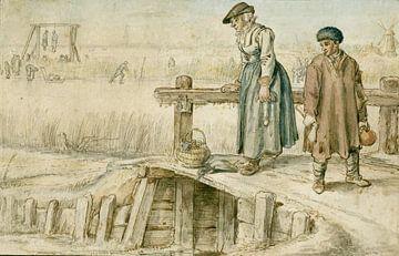 Trauer und Junge auf einer Brücke am Eis, Hendrick Avercamp, 1595 - 1634