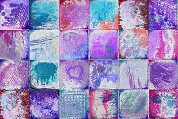 Collage met paars roze kleuren van Rietje Bulthuis