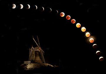 die Mondfinsternis, Supermond, Wolfmond. von Gert Hilbink
