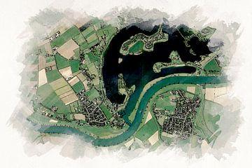 Kaart van Maasbommel Aquarel stijl van Aquarel Creative Design