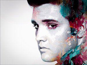 Elvis Presley Abstraktes modernes Porträt in Blau, Rot, Orange