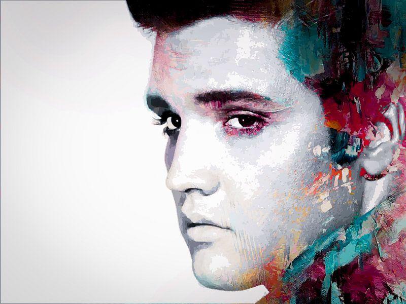Elvis Presley Abstraktes modernes Porträt in Blau, Rot, Orange von Art By Dominic