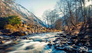 Snel stromende rivier Kaprun
