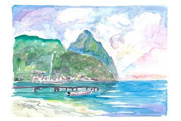 Erstaunliche Aussicht auf die Pitons in Saint Lucia von Markus Bleichner