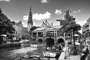Zeichnung des Rathauses und der Kroonbrug Leiden Niederlande