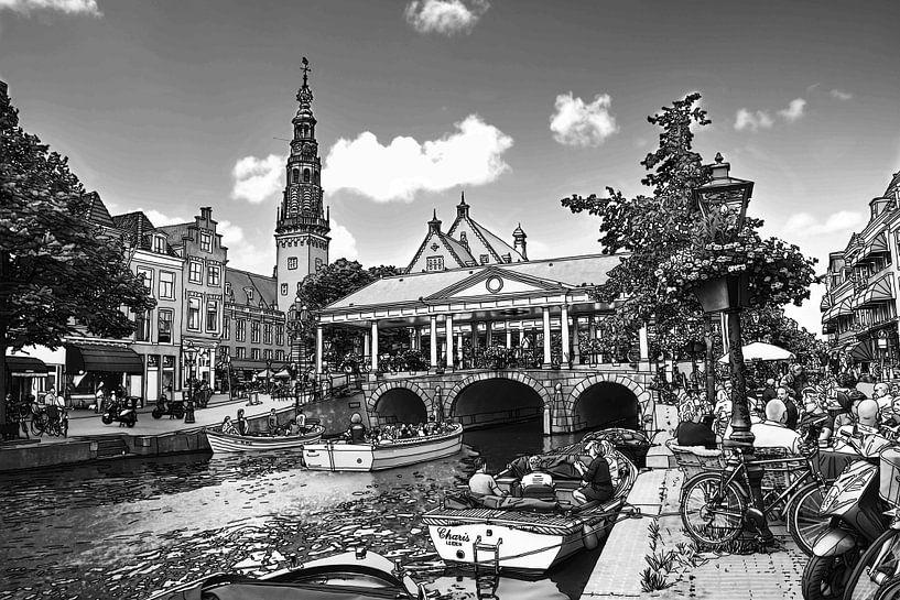 Zeichnung des Rathauses und der Kroonbrug Leiden Niederlande von Hendrik-Jan Kornelis