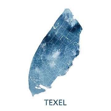 Texel Landkaart   Oceaan Blauw Aquarel   Wandcirkel van Wereldkaarten.Shop