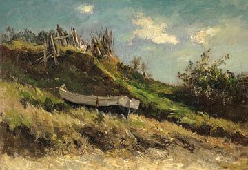 Carlos de Haes Bootslandschaft an der Küste, Antike Landschaft