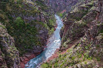 Schlucht mit roten Felsen und blauem Fluss von Martijn Joosse