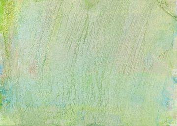 Abstraktes flächiges Aquarell in Grün, Blau Gelb und Rosa mit Streifen und Linien von Heike Rau