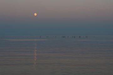 Maan met reflectie over de zee van Michiel Mos