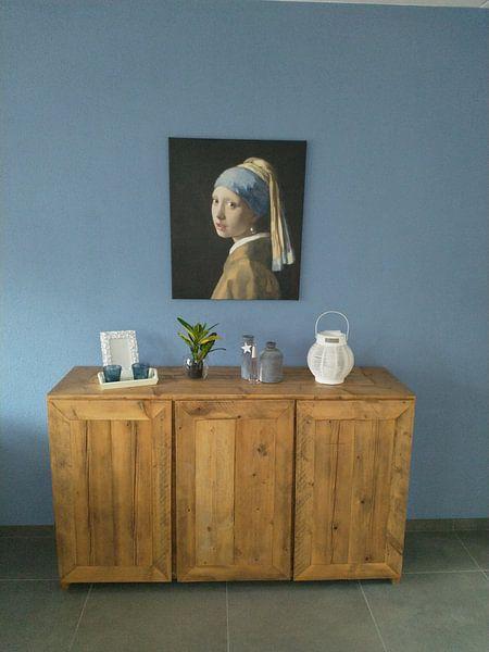 Klantfoto: Meisje met parel - Meisje van Vermeer - Schilderij (HQ) van Schilderijen Nu