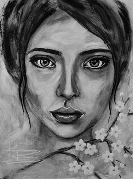 Abstract portret vrouw met kersenbloesem in zwart wit van Bianca ter Riet