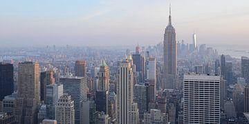 Manhattan New York met het Empire State Building, panorama van