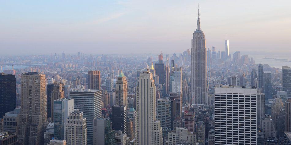 Manhattan New York met het Empire State Building, panorama