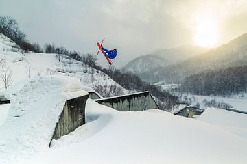 Action de ski freestyle à Kiroro, Japon sur