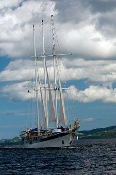 Driemaster op zee van Margot van den Berg