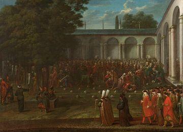 Cornelis Calkoen auf dem Weg zum Publikum mit Sultan Ahmed III, Jean Baptiste Vanmour, um 1727 - um