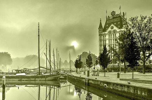Mist bij de Oude Haven - monochroom