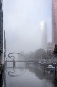 Mist bij de Ibisbrug van Frans Blok