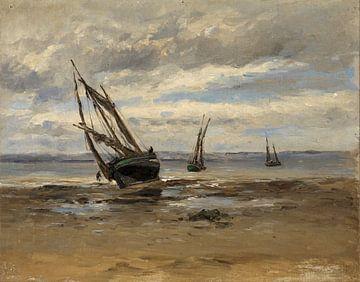 Carlos de Haes-Landschaft eines gestrandeten Bootes am Meer, Antike Landschaft