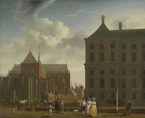 Amsterdam schilderij De Nieuwe Kerk en het stadhuis op de Dam in Amsterdam