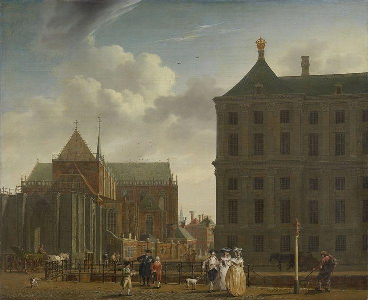 Amsterdam schilderij De Nieuwe Kerk en het stadhuis op de Dam in Amsterdam van Schilderijen Nu