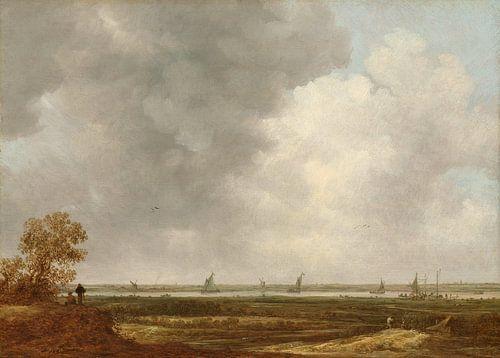 Vergezicht over de uiterwaarden van een rivier, Jan van Goyen van Meesterlijcke Meesters