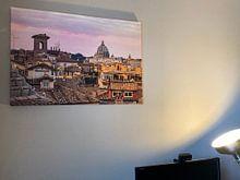 Photo de nos clients: Pink sunset glow over the rooftops in Rome - Italy sur Michiel Ton, sur toile
