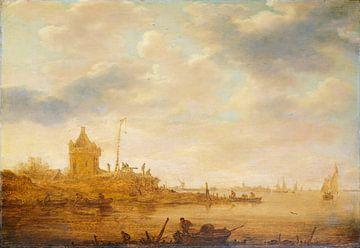Flussansicht mit Wachposten, Jan van Goyen