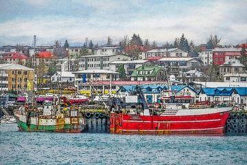 De haven van Hafnarfjordur, IJsland