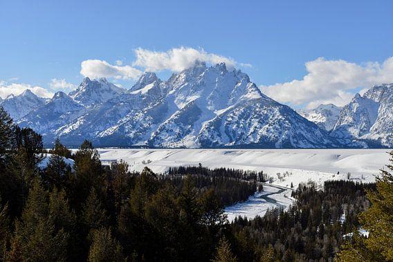Snow covered Teton Range and Snake River