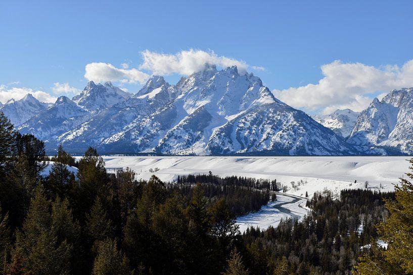 Snow covered Teton Range and Snake River van wunderbare Erde