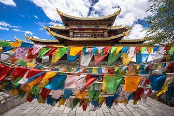 Gebedsvlaggetjes bij een tempel inShangri-La von Claudio Duarte