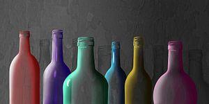 Kleurrijke glazen flessen