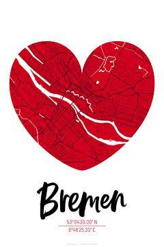 Bremen – City Map Design Stadtplan Karte (Herz) von ViaMapia