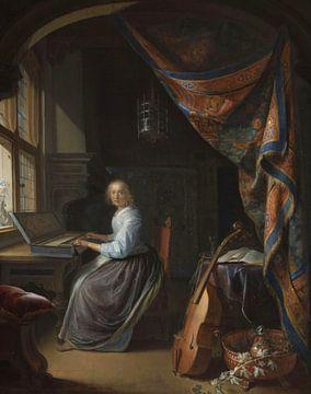 Eine Frau spielt ein Clavichord, Gerrit Dou