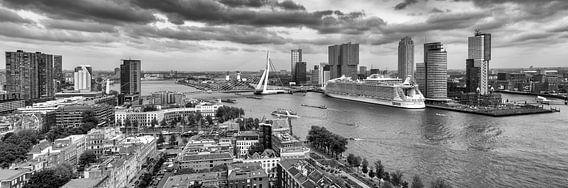 Harmony of the Seas in Rotterdam - Panorama - Zwart Wit