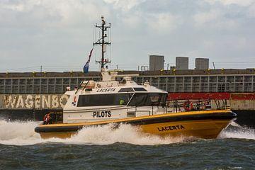 Pilot Tender Lacerta rauw en hard door de golven IJmuiden. van scheepskijkerhavenfotografie