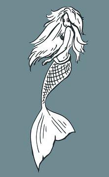 Style moderne - sirène en gris-bleu et blanc sur Emiel de Lange
