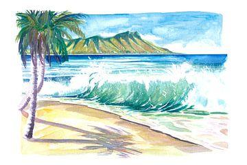Waikiki-golven met oceaannevel in Honolulu Hawaï van Markus Bleichner