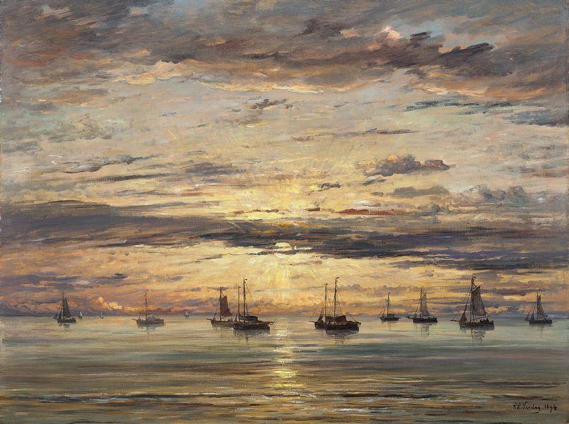 Sonnenuntergang bei Scheveningen, Hendrik Willem Mesdag von Meesterlijcke Meesters