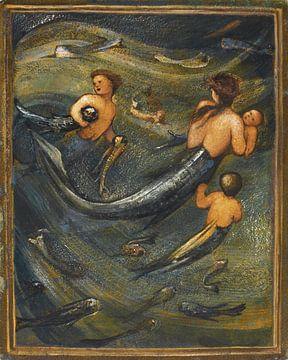Die Meerjungfrauenfamilie, Sir Edward Coley Burne-Jones (1833-1898) von Atelier Liesjes