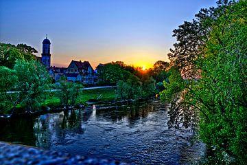 Zonsopgang boven de Jahninsel Regensburg van Roith Fotografie
