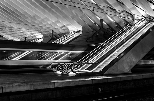 Escalator Z/W Station Luik-Guillemins van Photography by Karim