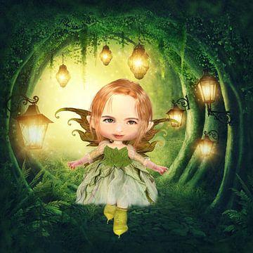 Elf in het bos - (mail je eigen foto, ik tover je kind om in een elf) van Anouk Muller - Funqy Wall Art
